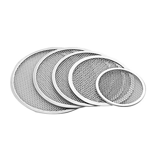 Viudecce Paquete de 5 Piedras de Pizza Bandeja Redonda de Malla Plana Bandeja para Hornear Neto Antiadherente para Hornear Pizza para el Hogar Restaurante Cocina
