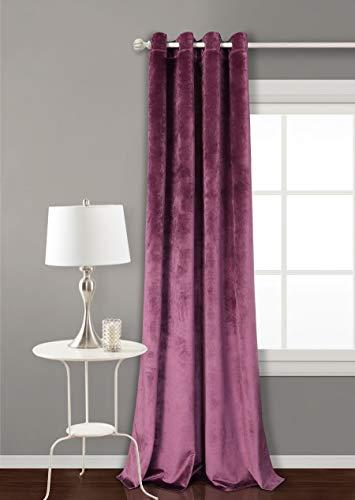 PimpamTex Cortina Terciopelo Opaca térmica Aislante para salón Dormitorio y habitación, con 8 Ojales, 1 Unidad 140 x 260 cm, Modelo Terciopelo Color Malva