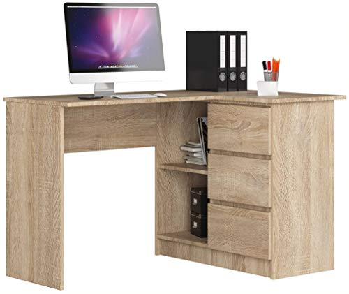 ADGO B16 - Mesa de ordenador esquinera de madera, 124 x 77 x 85 cm, con 3 cajones para un espacio para niños y adolescentes, taller y oficina (correcto, roble/sonom)