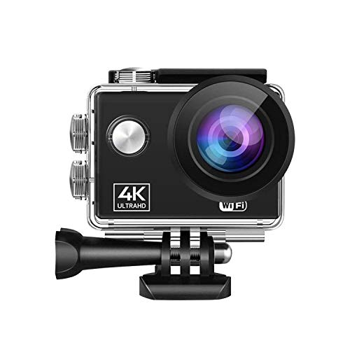 Sports Action Camera 4K 60FPS 2-inch HD Screen Underwater 30m 170 Degree Wide Angle Extended Memory with Waterproof Shell Built-in Li-ion Battery