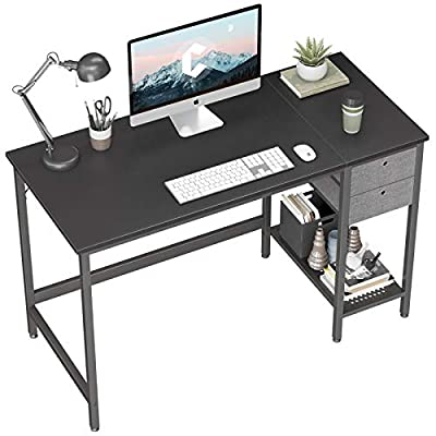 Cubiker Computer Home Office Desk, 47 Inch Small Desk Study Writing Table with Drawer, Modern Simple PC Desk, Black by Cubiker