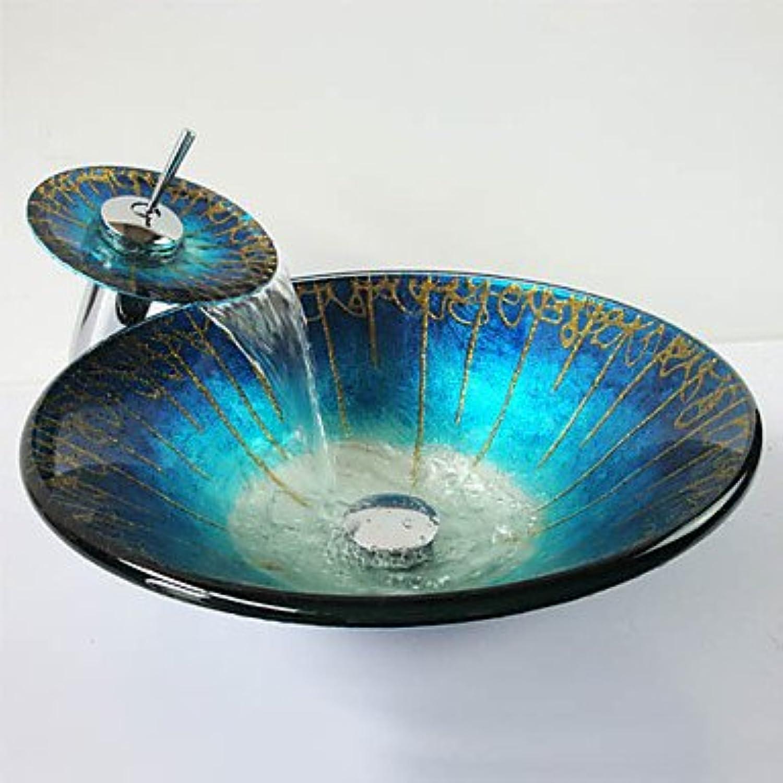 Y&M Blauer Hut-frmigen gehrtetes Glas Waschbecken und Wasserfall Wasserhahn, Pop-Drain und montieren Sie den ring
