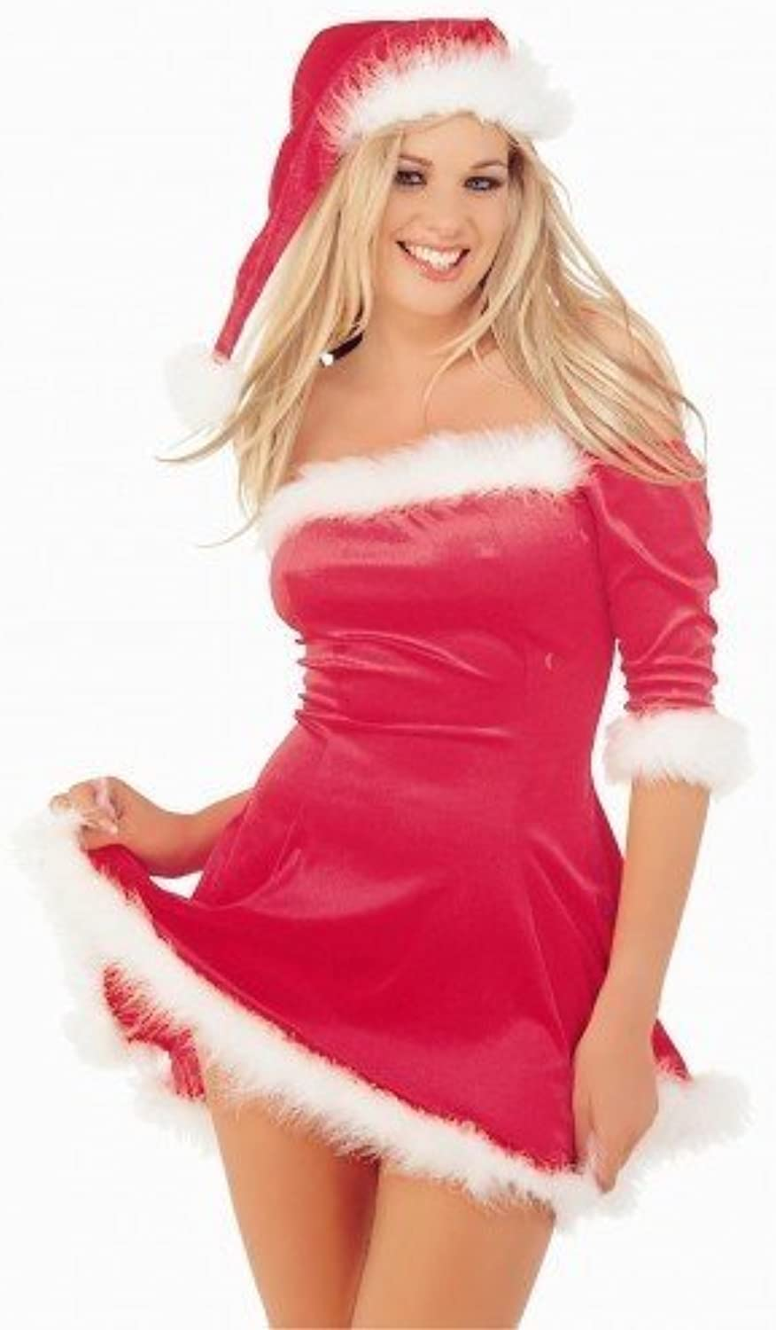 LADIES rosso VELVET SEXY SANTA XMAS OUTFIT DRESS HAT donna CHRISTMAS FANCY DRESS WITH HAT Dimensione S- M- L- XL (SMtutti 8-10)