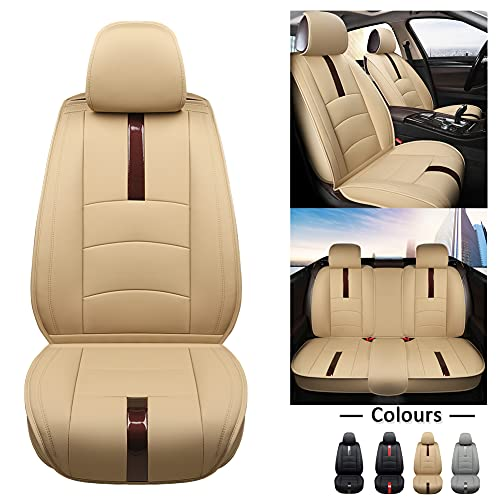 West Llama Car Seat Covers Full Set, Luxury Leather Front and Rear Split Bench Car Seat Covers for Most Small, Compact, Medium Cars, SUV, Beige