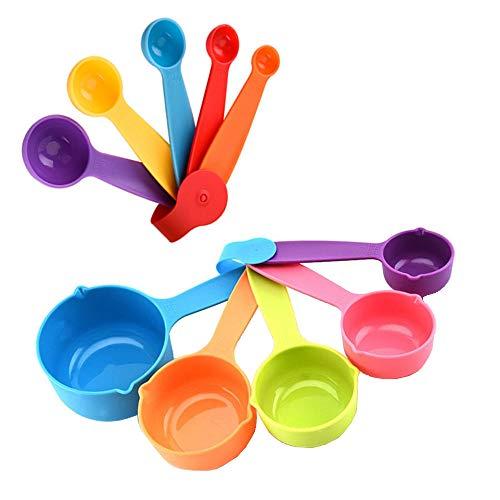 10 Piezas Juego de Tazas y Cucharas Medidoras, Tazas y Cucharas Medidoras de Plástico de Colores, Medidoras de Cocina, Medidoras Reposteria, Usado para Cocinar, Hornear, Dosificar