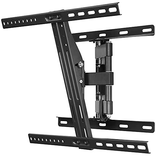 Grunkel - SP-18 AT-2 - Soporte de pared articulado para TV. Soporta televisores de hasta 65Kg, set de herramientas. Rango inclinación: 3º arriba / 10º abajo y giro horizontal de 180º - Negro