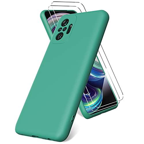 Vansdon Funda Compatible con Xiaomi Redmi Note 10 Pro/Note 10 Pro MAX, 2 Unidades Protector Pantalla Cristal Templado, Silicona Líquida Gel Ultra Suave Funda- Verde Noche
