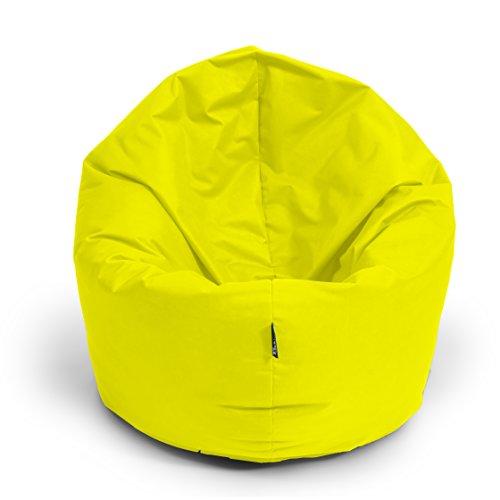 BuBiBag Sitzsack 2-in-1 Funktionen mit Füllung Sitzkissen Bodenkissen Kissen Sessel BeanBag (100 cm Durchmesser, gelb)
