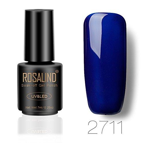 ROSALIND gel de esmalte de uñas semipermanente Soak Off UV LED color puro manicura pedicura salon 7 ml (azul 2)