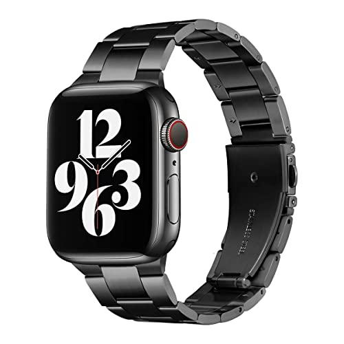 Besband Compatible with Apple Watch Band iwatch Bands 42mm 44mm Series 6 5 4 3 2 1 SE for Women and Men Stainless Steel Metal Strap Smart Watch Straps with Screen Protector Case-Black