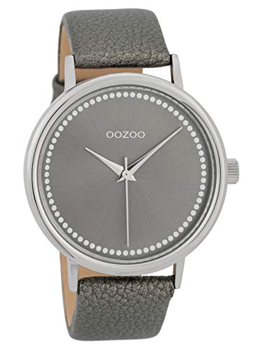 Groot Oozoo dameshorloge met lederen band in 42 mm