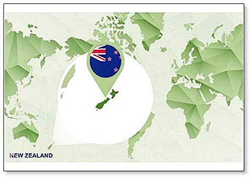 Världskarta med förstorad Nya Zeeland kartillustration kylskåpsmagnet