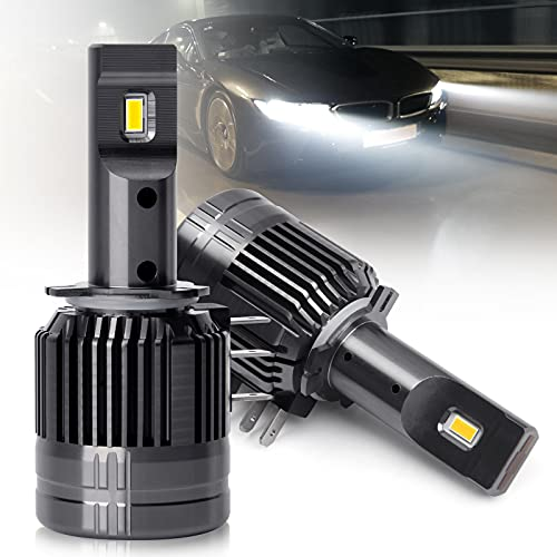 H15 Led Headlight Bulbs, 60W 13200LM 6000K White, Extremely Bright All-in-one Plug and Play, H15 Led Bulb (F16 H15 2PC Pack)