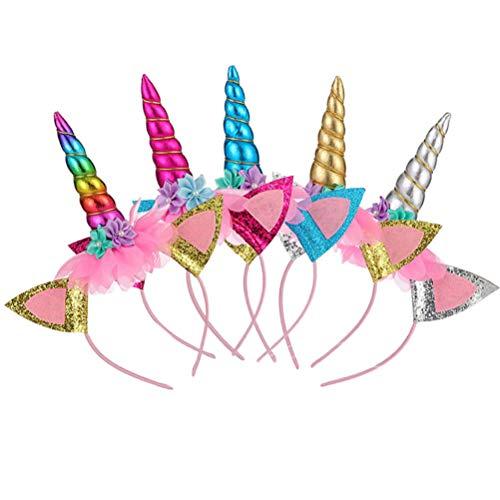 VALICLUD 1 Unidades 5 Piezas Unicorn Hair Hoop Hairband Diadema Carnaval Fiesta de cumpleaños para niños Niñas Tocado (Blanco+ Amarillo+ Azul+ Rojo+ Colorido)