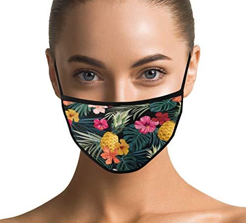 Design Maske Stylisch aus 100% Baumwolle - Modische Masken für Damen und Erwachsene (Hawaii)