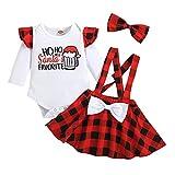 Newborn Toddler Baby Girl Christmas 3pcs Ropa Set Modificador de Manga Larga Top Plaid Suspender Falda Diadema Outfit de Navidad