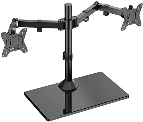 ErGear Dual Monitor Stand for 13'- 32' Screen Solid Construction with Smooth Flowing Motion Dual Monitor Mount Widened Base More Holding Capacity Tilt ±45° Swivel 180° Rotation 360° Weight 10KG