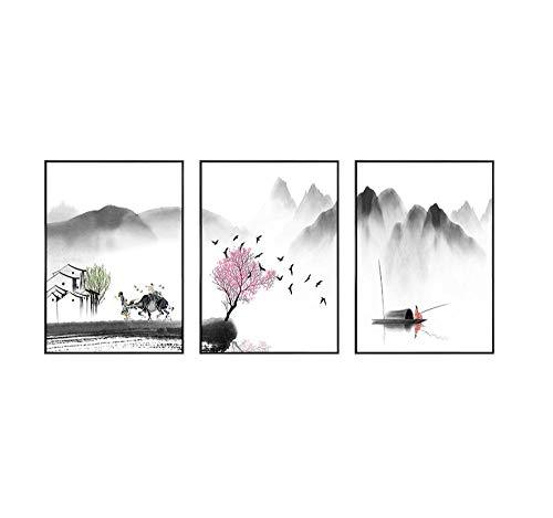 Selbst gemachte handgestickte Wohnzimmer-Triptychonbilder, Baumwollstickereitintenbilder@Seidenfaden 43 × 62 cm × 3 dreisträngige Stickerei