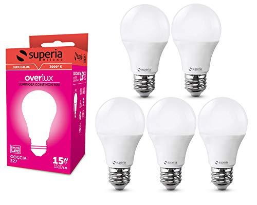 Superia Lampadina LED E27 Goccia, 15W (Equivalenti 85W), Luce Calda 3000K, 1500 lumen, OP15C, Pacco da 5