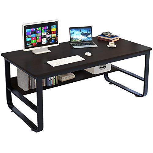 U-Shaped Computer Desk with Shelves 55 inch Modern Sturdy Office Desk Children Kids Study Writing Table Desk for Home Office Furniture (55.2 x 27.6 x 28.8 inches)