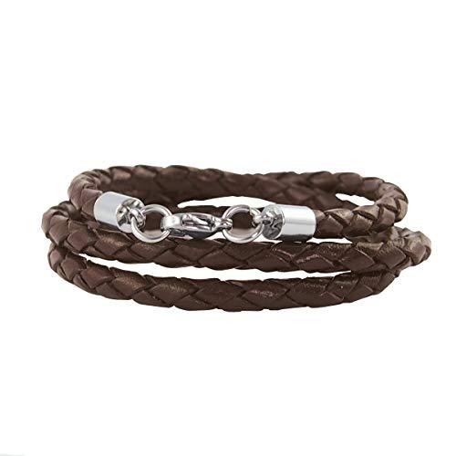 König Design Lederkette Lederband Leder-Armband 3 mm Herren Halskette Braun 65 cm lang mit Karabinerverschluss geflochten