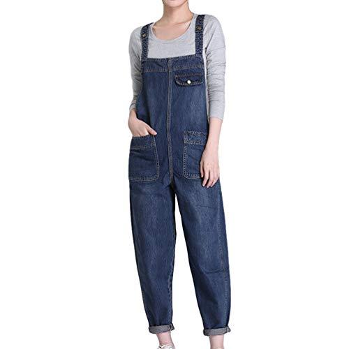 GladiolusA Mujer Monos Largos Suelto Petos Vaqueros Jeans Pantalones Jean Jumpsuits Azul 4XL