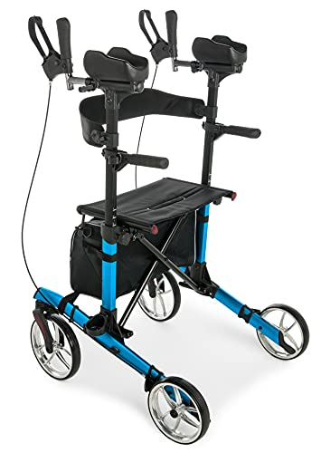 Lumex Gaitster Upright Walker with Stand-Up Forearm Pads, Large 9' Wheels and Padded Seat, Bondi Blue