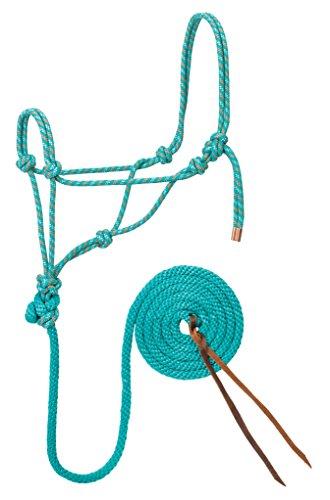 Weaver Leather Diamond Braid Rope Halter and Lead, Teal/Gray/Orange