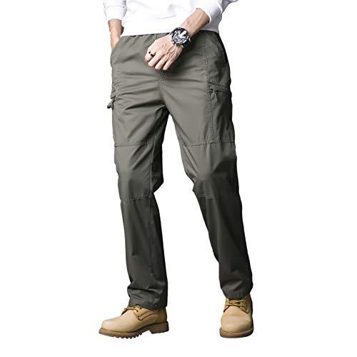 Gmardar Pantalones Hombre Pantalón Casual Hombre Pantalones Tipo Cargo Algodón Múltiples Bolsillos Laterales y Cinturón Ajustable Acampada Marcha Pesca Senderismo