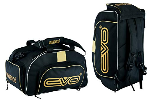 EVO Fitness Duffle Bag With Shoes Compartment Gym Sports Kit Backpack Football Travel Duffel Bag With Shoulder Straps Training MMA Boxing Men Women (Black/Golden)