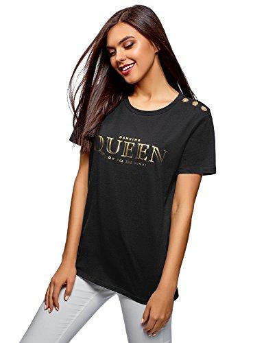 oodji Ultra Mujer Camiseta Recta con Botones Decorativos, Negro, ES 38 / S