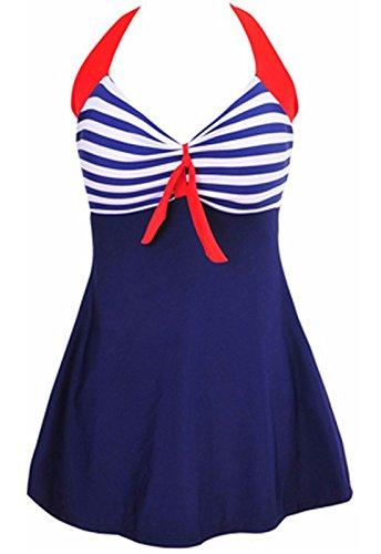 AMAGGIGO Amenxi Damen Kirschen Cherry/Blau-Weiß Einteiliger Spitze Figuroptimizer Sportlich Neckholder Retro Vintage Damen Badeanzug (EU 46-48, Blau1)