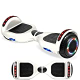 NHT Electric Hoverboard Self Balancing Scooter with Built-in Bluetooth Speaker LED Lights - Safety Certified for Adult Kids Gift (_White)