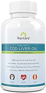 Pure Arctic Cod Liver Oil with Vitamin D 4000 IU | 1000 mg Cod Liver Oil – Promotes Brain, Joint & Cardiovascular Health – 180 Liquid Softgel Capsules