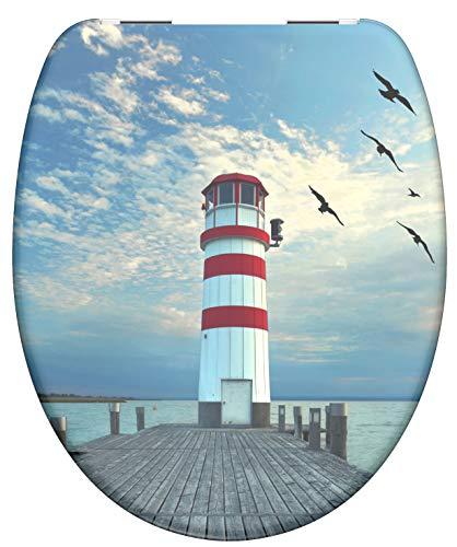 SCHÜTTE Sitz Duroplast Lighthouse, Toilettensitz mit Absenkautomatik, passend für alle handelsüblichen WC-Becken, maximale Belastung der Klobrille 150 kg, Motiv Leuchtturm 82149, Light House