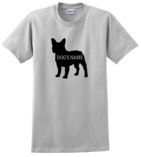 Personalized Dog Collar Personalized French Bulldog Add Dog's Name Custom T-Shirt Large Ash