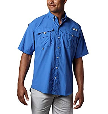 Columbia Men's PFG Bahama II Short Sleeve Shirt, Vivid Blue, Large