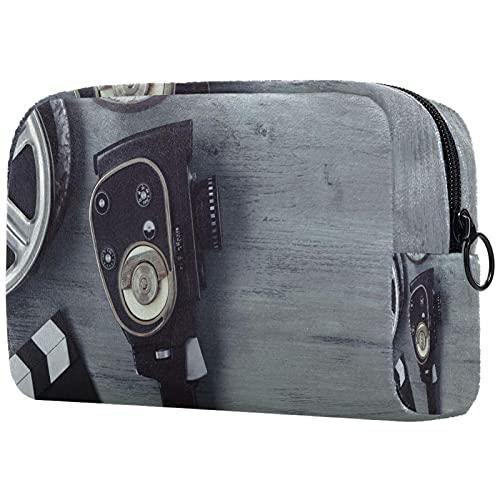 Bolsa de cosméticos para Mujeres Vieja cámara de Cine Rodillos de película Tablero de Clapper Bolsas de Maquillaje espaciosas Neceser de Viaje Organizador de Accesorios