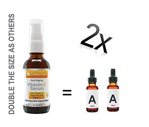 41MNlWBju2L - 20% Vitamin C Serum Double the size - 2oz Bottle - Made in Canada All Natural 20% Vitamin C + Hyaluronic Acid + Vitamin E-Reverse Skin Aging & Wrinkles and look younger Certified Organic Scent Free Excellent for Sensitive Skin! 100% Guaranteed