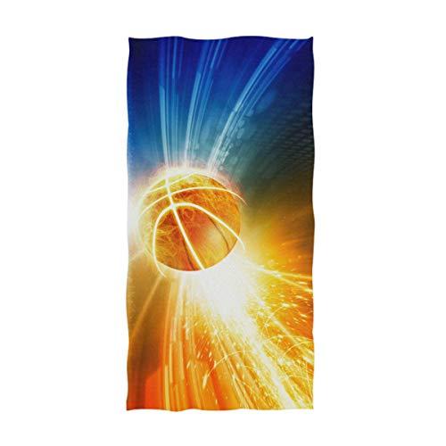 OCEAN AN 3D Cool Burning Basketball con Luces Brillantes Toallas de Mano Grandes y Suaves (15.7'x27.5, Azul Naranja)