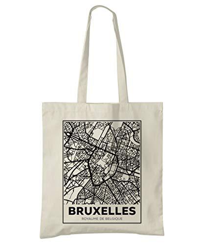 Super Cool Totes Bruselas, Bélgica, mapa de la ciudad, bolso de algodón