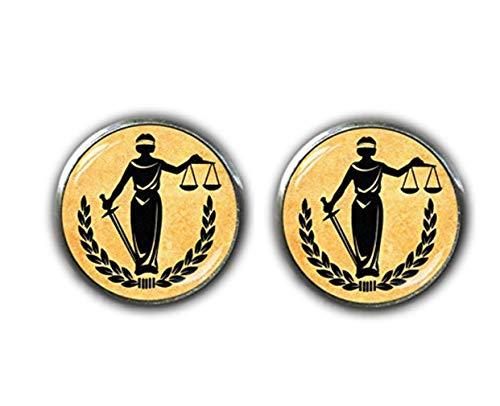 Bloody devil - Gemelos de Justicia para Mujer, Gemelos de Abogado, balanza de Gemelos judiciales, Regalos de Abogado, Regalos de Estudiante Legal, graduados de la Escuela de leyes, Regalos de Abogado