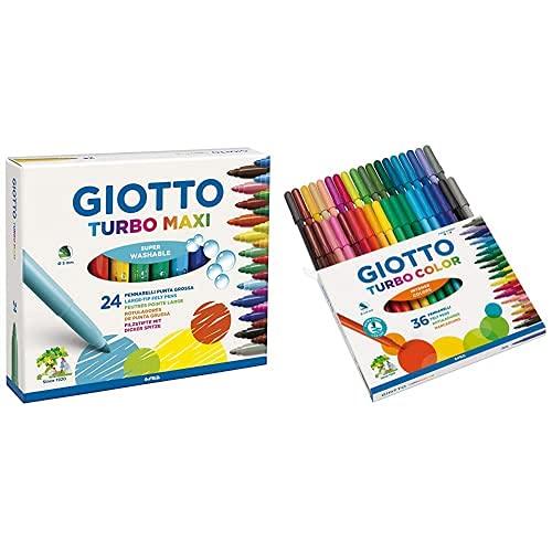 """""""Giotto 455000 Pennarelli Turbo Maxi Punta Larga, 5 Mm, Conf. Da 24 Tonalita' Di Colori & Giotto Turbo Color Pennarelli In Astuccio Da 36 Colori"""