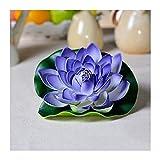Plantas de plástico de peonía Flores artificiales 10 PCS Lotus artificial Lotus realistas Lily Lily Pads Hojas de lotos de espuma flotantes para jardín Koi Pescado Estanque Aquarium Pool Decoración de