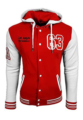 R-Neal College Jacke Herren Kapuzenpullver Collegejacke Sweatshirt College Sweater 76-1, Größe:L, 6876-1:Rot/Weiß
