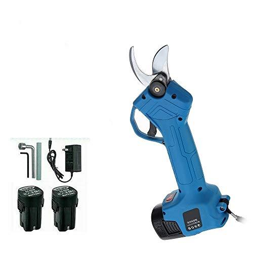 no-branded Cxleur 500W eléctrica poda Tijeras Tijeras de podar 16,8V Recargable Jardín Pruner sécateur Poder de Corte Herramienta de Corte + 2X batería (Color : Azul, Size : 2 Batteries)