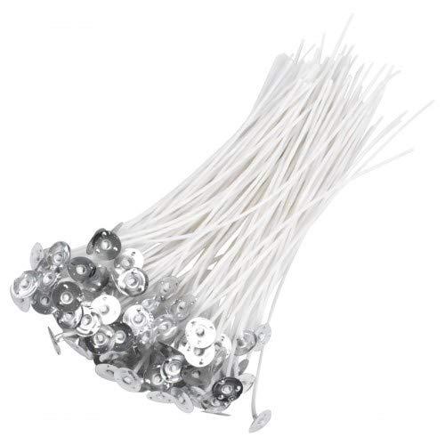 Jinlaili Kerzendocht, 100 STK Gewachste Kerzendochte für Kerzen 15 cm, Runddocht 3mm, Teelichtdochte mit Fuß für Sojawachs die Kerzenherstellung Kerze DIY, 6 Zoll, Baumwolle