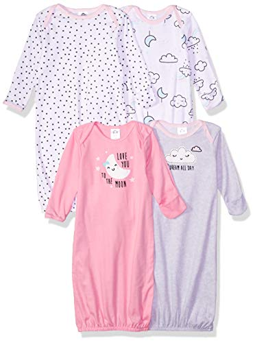 Gerber Baby Girls' 4 Pack Gowns, Clouds, Preemie