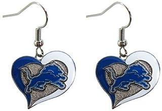 Aminco NFL Detroit Lions Swirl Heart Earrings