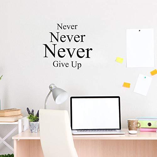 yiyiyaya Niemals aufgeben Wandaufkleber Zitat für Schlafzimmer inspirierende Worte Vinyl Wandtattoos motivierende Office Decor gelb 60 X 56 cm